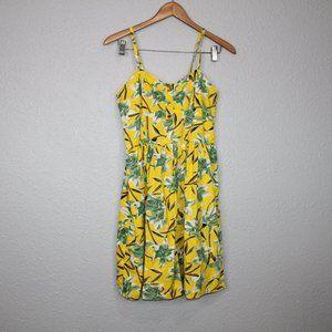 Bar III Yellow Floral Print Mini Dress sz L